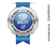 blue top quality badge with... | Shutterstock .eps vector #206689045