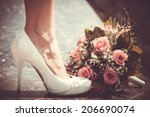 White Shoe Of The Bride Next To ...
