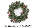 christmas wreath with red... | Shutterstock . vector #20669059