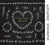 doodle floral elements for... | Shutterstock .eps vector #206691079