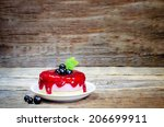 souffle cake with black currant ... | Shutterstock . vector #206699911