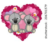 two koalas on a background of... | Shutterstock .eps vector #206701579