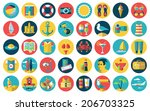 Flat modern design vector icons set of planning a summer vacation, traveling on holiday journey, tourism stuff and travel objects, passenger luggage and equipment.