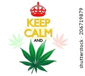 keep calm and marijuana leaf | Shutterstock .eps vector #206719879