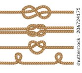 set of ropes with knots.  | Shutterstock .eps vector #206724175