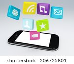 3d mobile phone application... | Shutterstock . vector #206725801