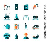 Oil industry gasoline processing symbols icons set in flat style with tanker truck petroleum can and pump isolated vector illustration
