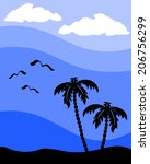 silhouette of a palm tree with...   Shutterstock .eps vector #206756299