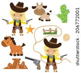 cowgirl vector illustration | Shutterstock .eps vector #206772001
