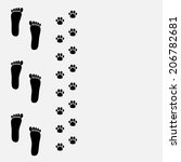 bare foot print and paw print... | Shutterstock .eps vector #206782681