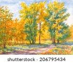 watercolor painting  autumn...   Shutterstock . vector #206795434