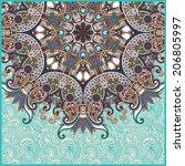 floral round pattern in... | Shutterstock . vector #206805997