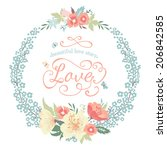 wedding round floral frame with ... | Shutterstock .eps vector #206842585