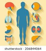 flat design icons for medical... | Shutterstock .eps vector #206844064