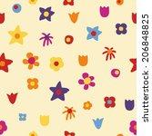flowers seamless pattern | Shutterstock .eps vector #206848825