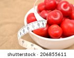 red plums and tape measure