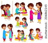 brother and sister in raksha... | Shutterstock .eps vector #206862145