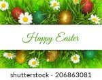 easter banner with grass... | Shutterstock . vector #206863081