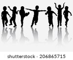 happy boy silhouette | Shutterstock .eps vector #206865715
