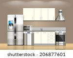kitchen and house appliances ... | Shutterstock .eps vector #206877601