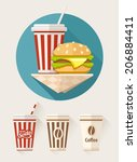 hamburger and soda in paper... | Shutterstock .eps vector #206884411