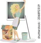 woman doing chores and taking a ... | Shutterstock . vector #206892319