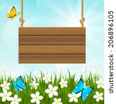 sunny meadow with wooden... | Shutterstock .eps vector #206896105