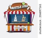 carnival game. milk bottle toss ... | Shutterstock .eps vector #206897161