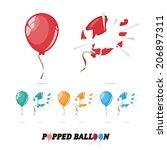 popped balloon   vector | Shutterstock .eps vector #206897311