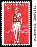 Small photo of 1963 Amelia Earhart Airmail postage Stamp canceled 8c red