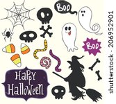 set of hand drawn halloween... | Shutterstock .eps vector #206952901