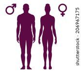 Vector illustration of standing silhouettes of man and woman, female and male signs isolated on white background
