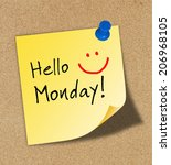 the word hello monday pinned to ... | Shutterstock . vector #206968105