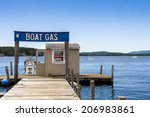 Boat Gas On A Lakeside Dock In...