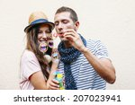 funny lovely couple.  ... | Shutterstock . vector #207023941