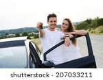 happy and cheerful young couple ... | Shutterstock . vector #207033211