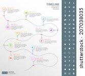timeline template in sticker... | Shutterstock .eps vector #207038035