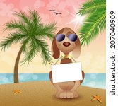 funny dog on the beach | Shutterstock . vector #207040909