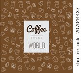 icons set pattern  coffee saved ... | Shutterstock .eps vector #207044437