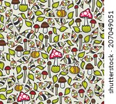seamless pattern with mushrooms.... | Shutterstock .eps vector #207049051