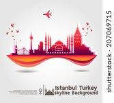 istanbul  turkey  skyline...   Shutterstock .eps vector #207069715
