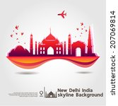 new delhi  india  skyline... | Shutterstock .eps vector #207069814