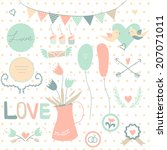 set of cute vintage wedding... | Shutterstock .eps vector #207071011