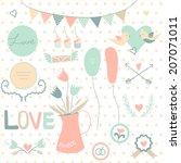 set of cute vintage wedding... | Shutterstock .eps vector #207071011