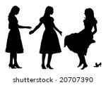 black silhouette of young woman   Shutterstock .eps vector #20707390