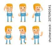 set of mechanic character in... | Shutterstock .eps vector #207090541
