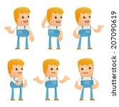 set of mechanic character in... | Shutterstock .eps vector #207090619