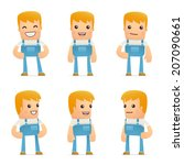set of mechanic character in... | Shutterstock .eps vector #207090661