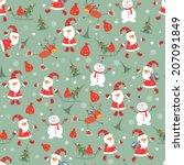 vintage christmas seamless... | Shutterstock .eps vector #207091849