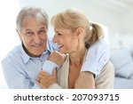 happy senior man embracing his... | Shutterstock . vector #207093715